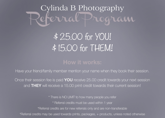 referral program, cylinda b photography, Syracuse NY photographer
