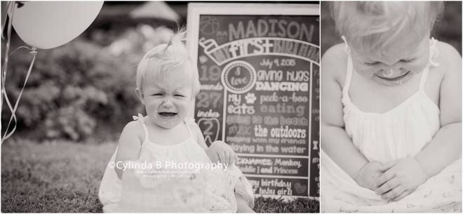 syracuse, ny, photography, cake smash, cylinda b photography, baby girl, crying
