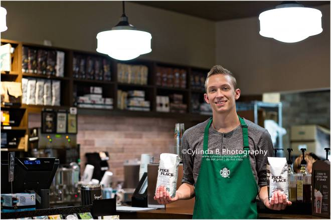 Starbucks, Senior portraits, Cylinda B Photography, boy-12
