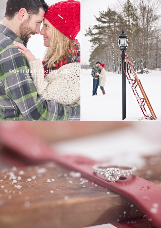 Sledding, engagement, syracuse engagement, winter engagement, Syracuse wedding photographer, cylinda b photography